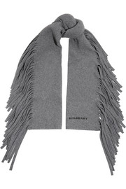London fringed wool-blend felt scarf