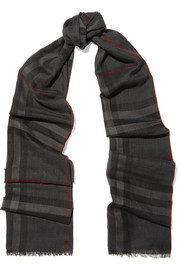 Burberry London London checked wool and silk-blend scarf