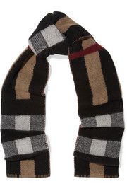 Burberry London London reversible checked wool and cashmere-blend scarf