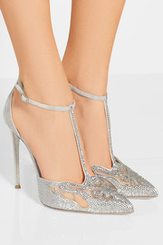 René Caovilla Embellished suede and mesh pumps