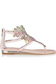 Crystal-embellished metallic karung wedge sandals