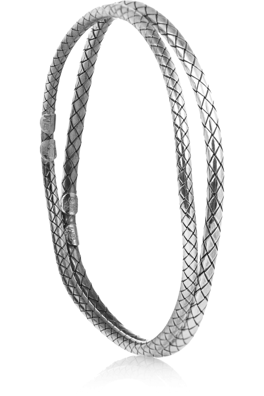 Bottega Veneta Set of two oxidized sterling silver bracelets