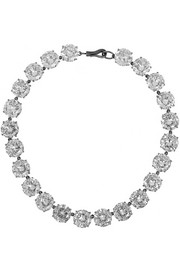 Oxidized sterling silver cubic zirconia necklace