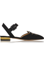 Charlotte Olympia Mid-Century Dorsay leather-trimmed canvas point-toe flats