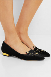 Charlotte Olympia Mid-Century Kitty embroidered velvet point-toe flats