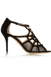 Lotte cutout suede and mesh sandals
