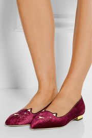 Charlotte Olympia Mid Century Kitty embroidered velvet point-toe flats