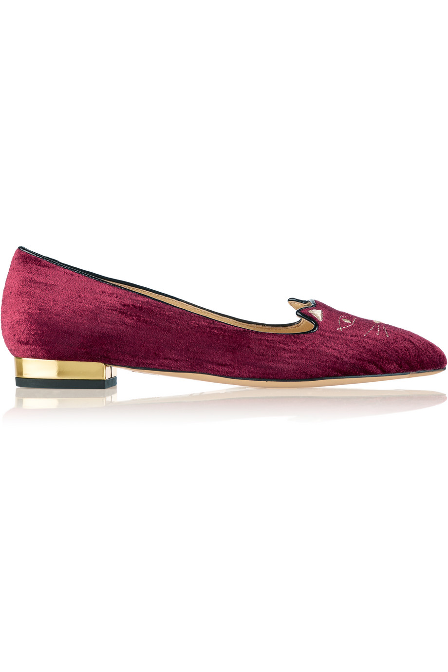Charlotte Olympia Mid Century Kitty Embroidered Velvet Point-Toe Flats, Burgundy, Women's US Size: 5, Size: 35.5