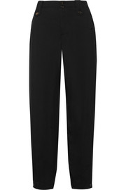 Grosgrain-trimmed twill tapered pants