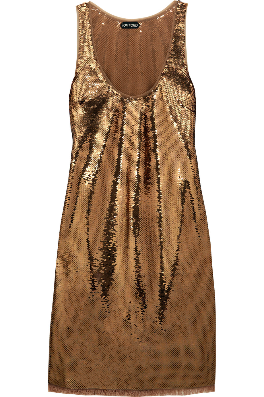 Sequined Stretch-Tulle Mini Dress, Gold/Metallic, Women's, Size: 38