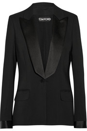 Satin-trimmed stretch-cady tuxedo jacket