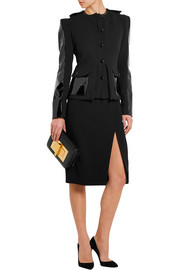 Patent leather-paneled stretch-wool jacket