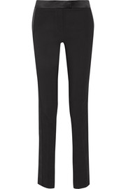 Satin-trimmed stretch-cady straight-leg tuxedo pants