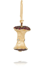 18-karat gold, ruby and diamond apple core charm