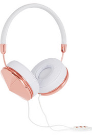 Frends Taylor leather and rose gold-tone headphones