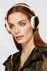 Taylor leather and rose gold-tone headphones