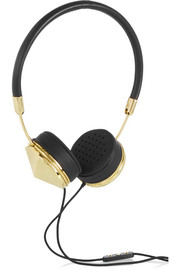 Layla leather and gold-tone headphones