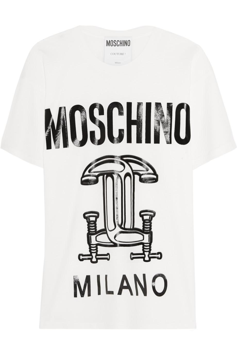 Moschino Printed Cotton-Jersey T-Shirt, White, Women's