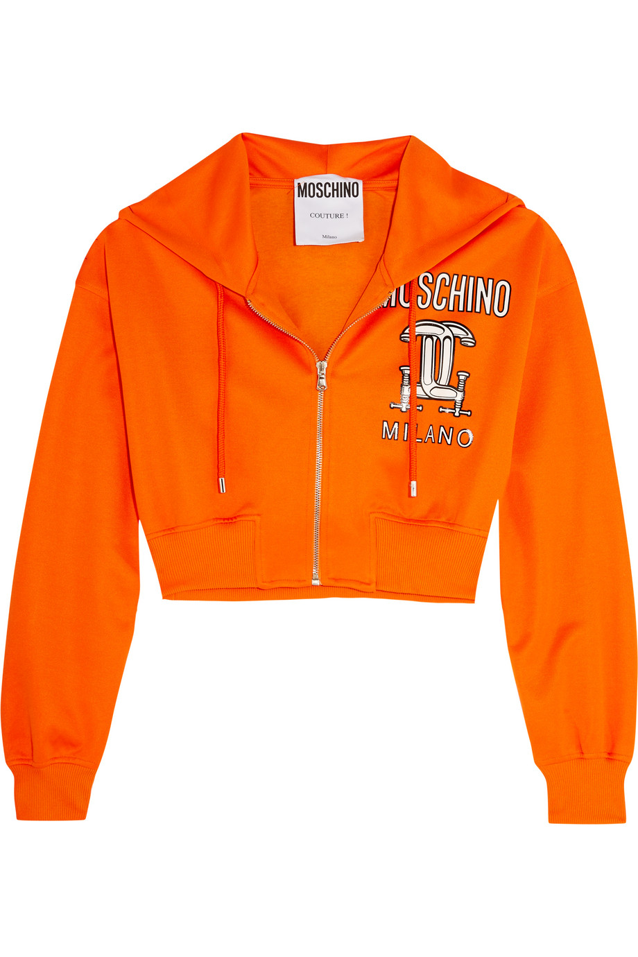 Moschino Cropped Printed Jersey Hooded Top, Orange, Women's, Size: L