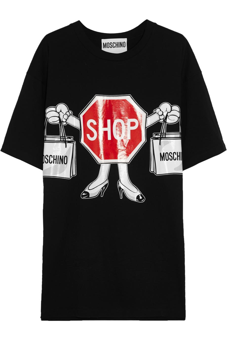 Moschino Printed Cotton-Jersey T-Shirt, Black, Women's, Size: 42