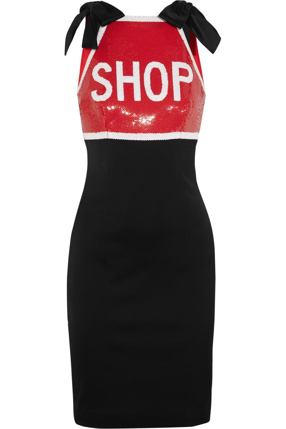 Moschino Sequin-Embellished Stretch-Satin Mini Dress, Black, Women's, Size: 46