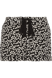 Lilian heart-print washed-silk pajama shorts