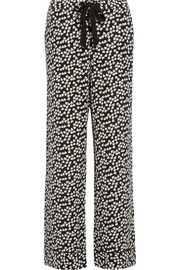 Avery heart-print washed-silk pajama pants