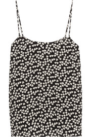 Equipment Cara heart-print washed-silk camisole