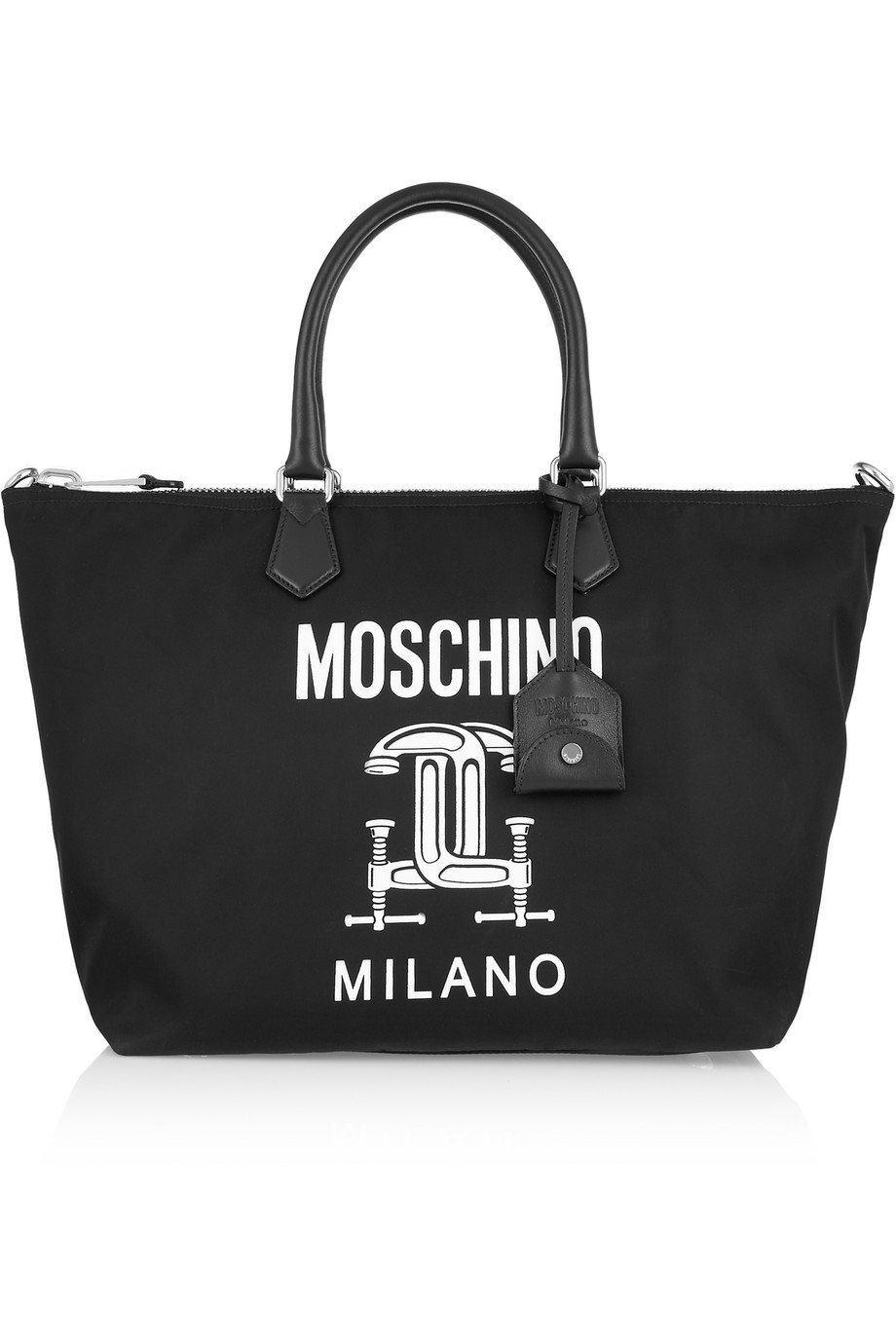 Moschino Faux Leather-Trimmed Printed Shell Tote, Black, Women's