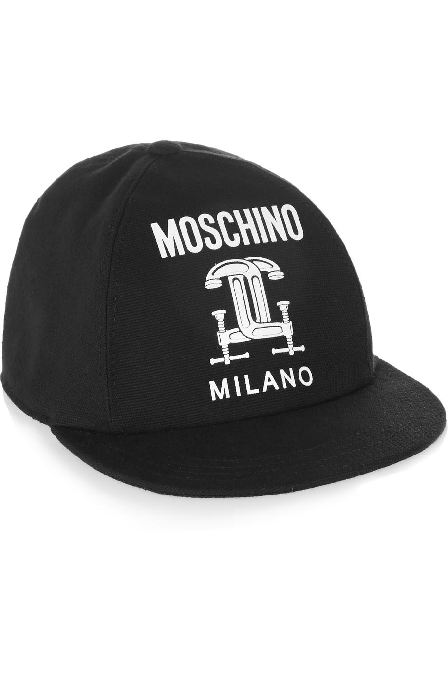Moschino Printed Cotton-Piqué Baseball Cap, Black, Women's, Size: L