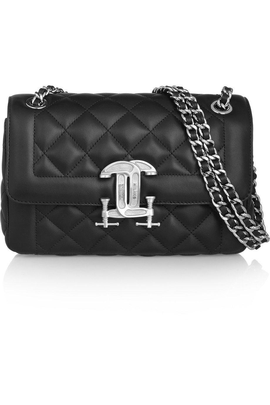 Moschino Quilted Leather Shoulder Bag, Black, Women's