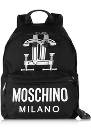 Moschino Faux leather-trimmed printed shell backpack