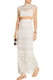 Asher crocheted lace maxi skirt