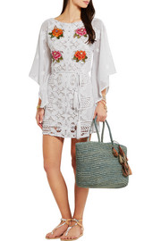 Claudia embroidered crocheted cotton-lace coverup