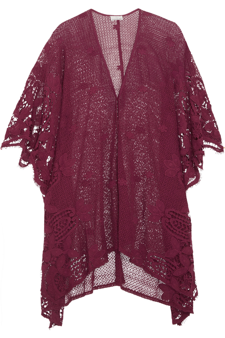 Miguelina Gaby Crocheted Cotton-Lace Kaftan, Claret, Women's