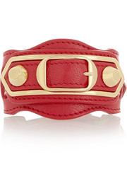 Holiday Collection studded textured-leather bracelet