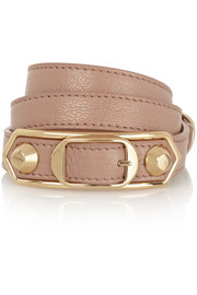 Holiday Collection Triple Tour textured-leather and gold-tone bracelet