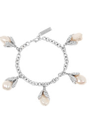 Holiday Collection Eugenia silver-tone, pearl and crystal charm bracelet