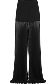 Cady and plissé silk-chiffon wide-leg pants