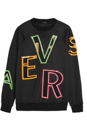 Oversized mesh-paneled stretch-neoprene sweatshirt