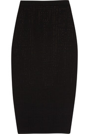 Perforated stretch-knit pencil skirt