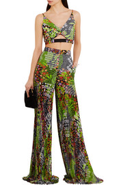 Versace Cropped floral-print crepe top