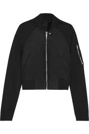 Rick Owens Stretch faille-paneled nubuck bomber jacket