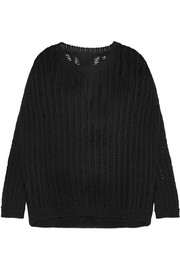 Open-knit cotton-blend sweater