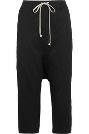 Cropped stretch-faille track pants