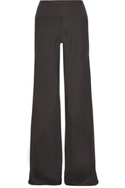 Paneled stretch satin-faille wide-leg pants