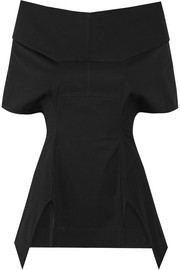 Rick Owens Judith off-the-shoulder coated cotton-poplin top