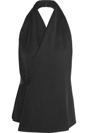 Rick Owens Stretch-faille halterneck top