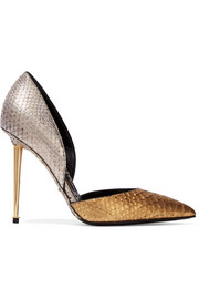D'Orsay two-tone metallic python pumps