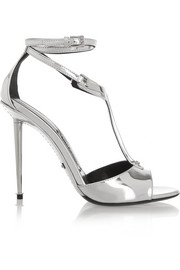 Metallic leather T-bar sandals